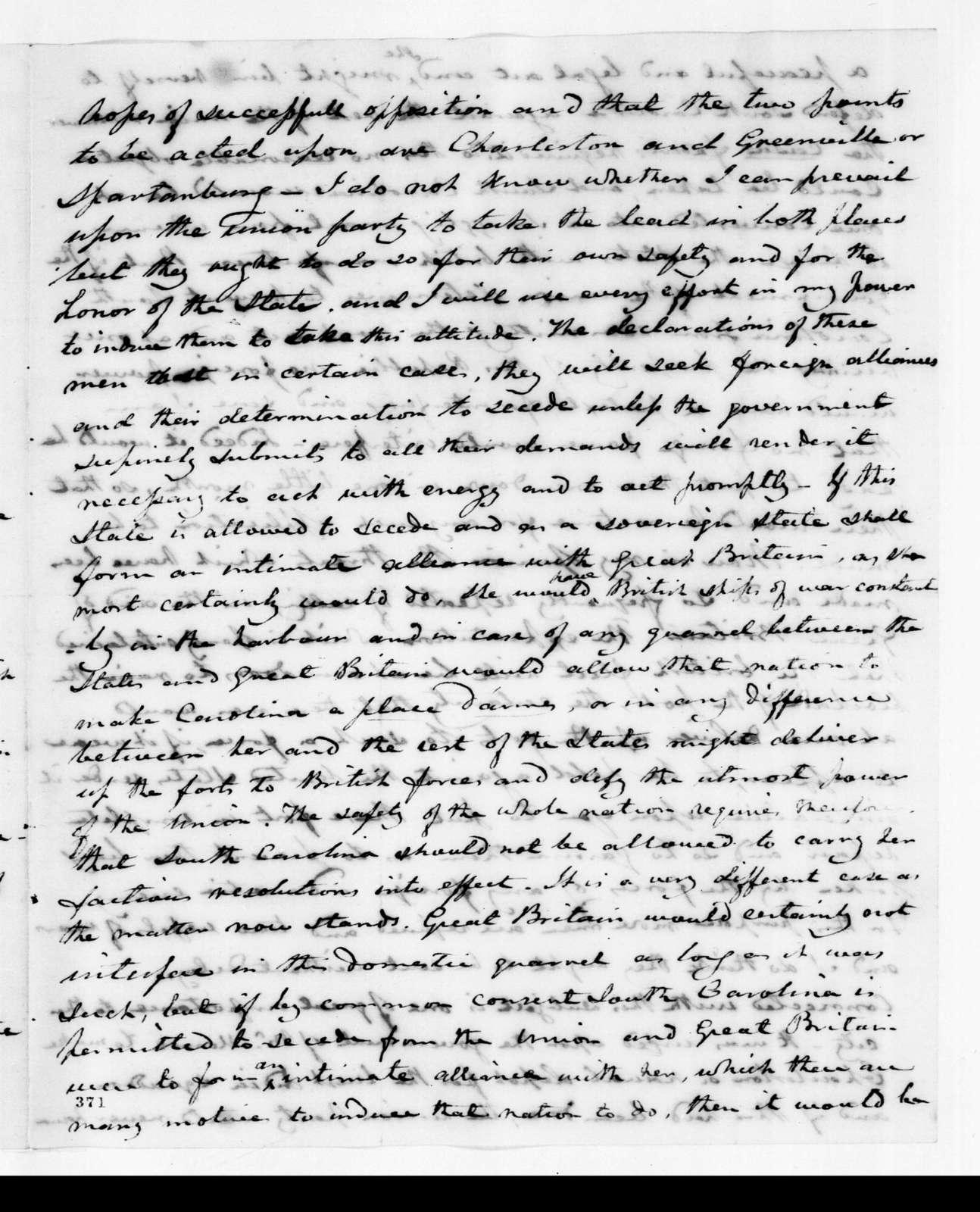 Joel Roberts Poinsett to Andrew Jackson, November 25, 1832