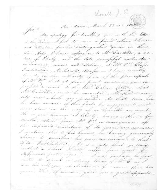 John E. Lovell to James Madison, March 22, 1832.
