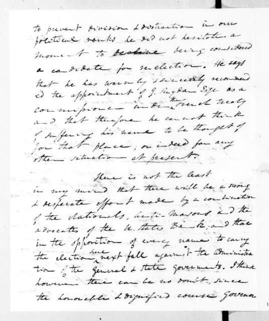 John Freeman Schermerhorn to Andrew Jackson, May 12, 1832