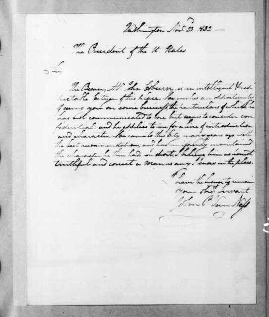 John Peter Van Ness to Andrew Jackson, November 23, 1832
