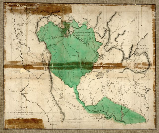Map of the route passed over by an expedition into the Indian country in 1832 to the source of the Mississippi /