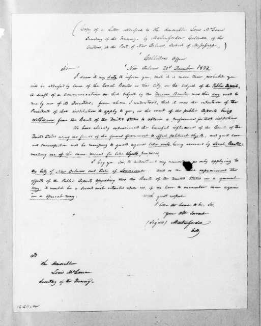 Martin Gordon to Louis McLane, December 21, 1832