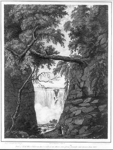 Part of Niagara Falls on the U.S. side of the river, seen from the Canada side / Drawn June 1806 by D. Wadsworth, from nature ; drawn on stone by Wm. R. Browne ; lith. of Pendleton, 9 Wall St..
