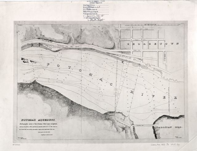 Potomac Aqueduct, hydrographic survey of the Potomac River near Georgetown : shewing the position of the Aqueduct, its connection with the Ch. & Ohio Canal on the north bank, and with the Alexandria Canal on the south bank of the river /