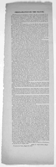 """Proclamation by the mayor. Whereas, by an act of Congress, entitled """"An act to incorporate the inhabitants of the City of Washington, and to repeall all acts heretofore passed for that purpose,"""" approved the 15th May, 1820,"""" full power and autho"""