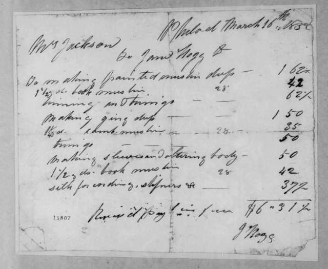 Rachel Donelson Jackson to James Nagg, March 16, 1832