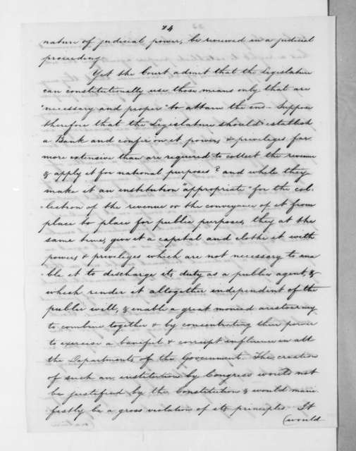 Roger Brooke Taney to Andrew Jackson, June 27, 1832
