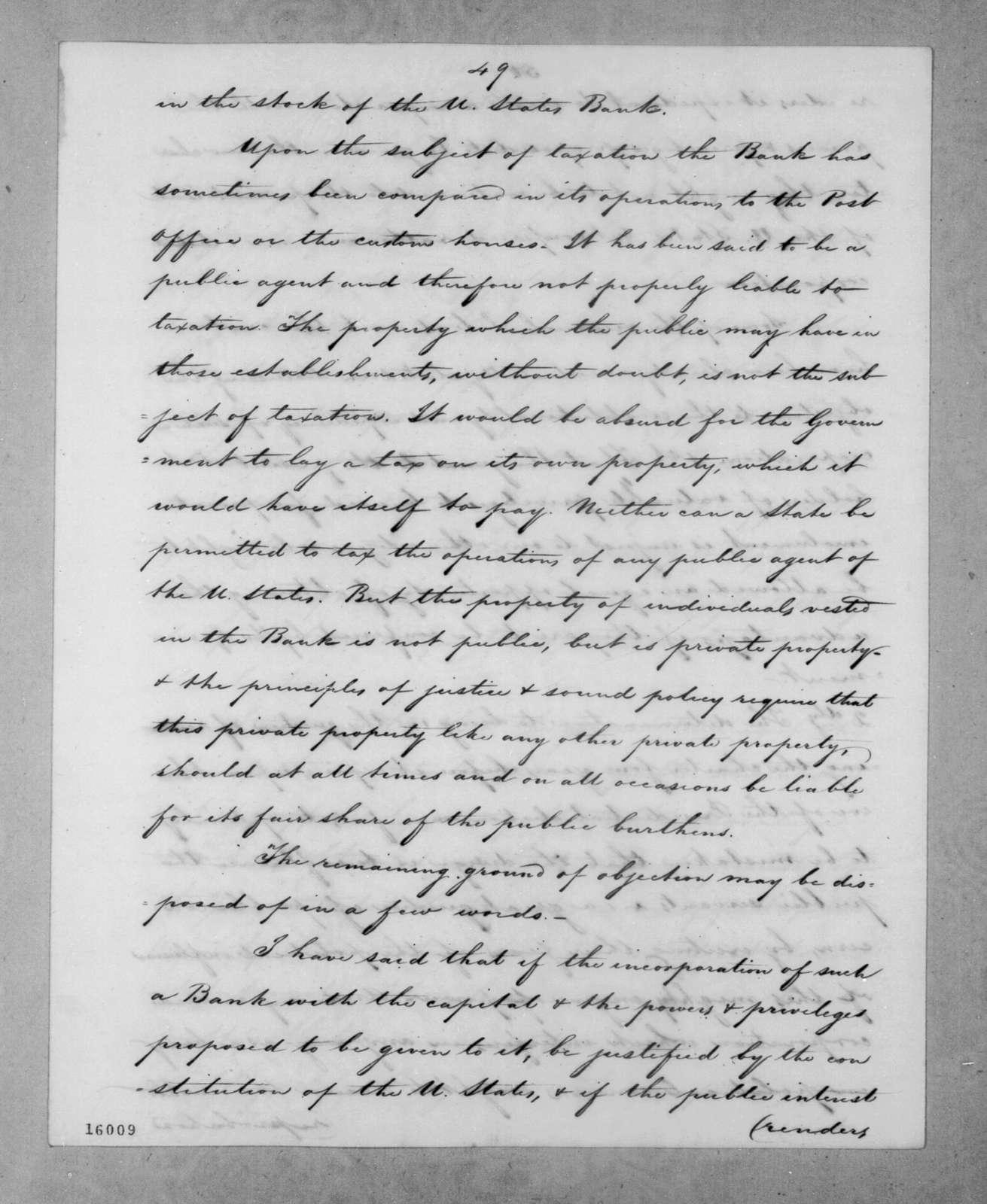 Roger Brooke Taney to Andrew Jackson, June 27, 1832