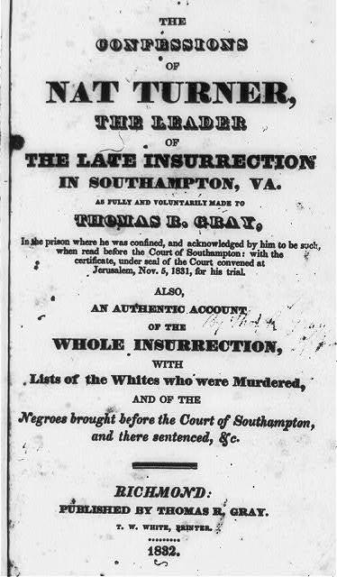 Title page, with no illus., in Nat Turner, The confessions, Richmond, Thomas R. Gray, 1832