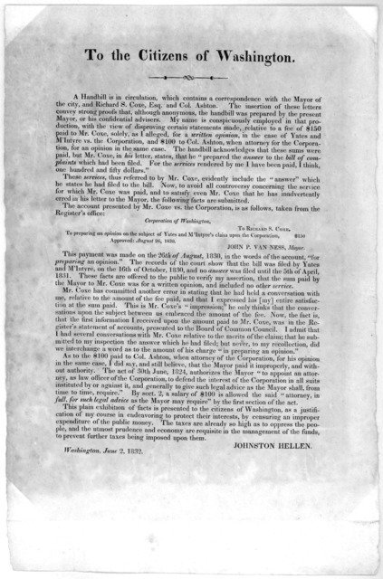 To the citizens of Washington. A handbill is in circulation, which contains a correspondence with the Mayor of the city, and Richard S. Coxe, Esq. and Col. Ashton ... Johnston Hellen Washington, June 2, 1832.