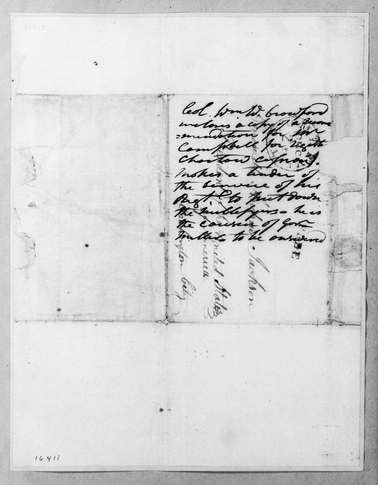 William White Crawford to Andrew Jackson, December 21, 1832