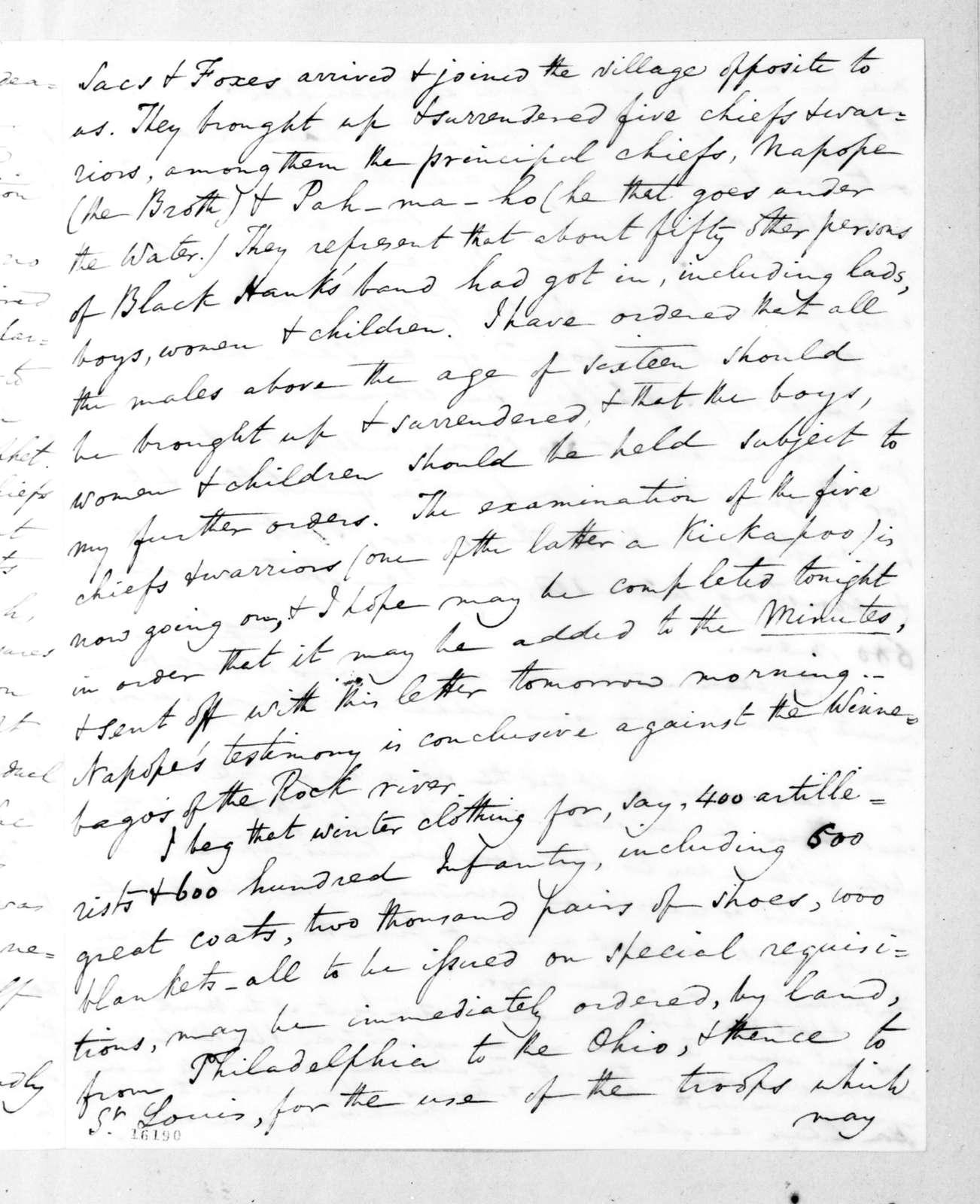 Winfield Scott to Lewis Cass, August 29, 1832