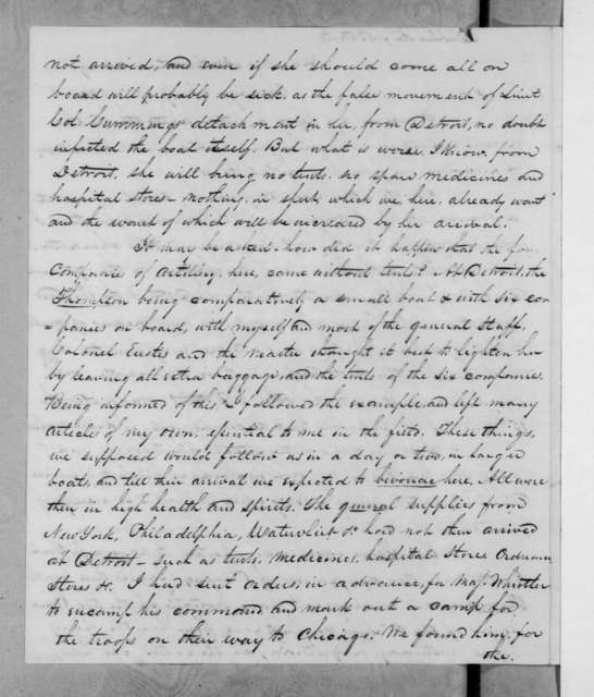 Winfield Scott to Lewis Cass, July 19, 1832