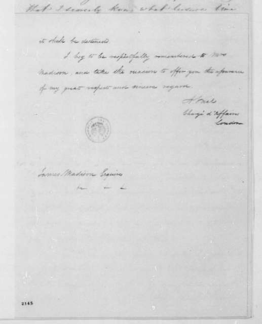 Aaron Vail to James Madison, November 18, 1833.