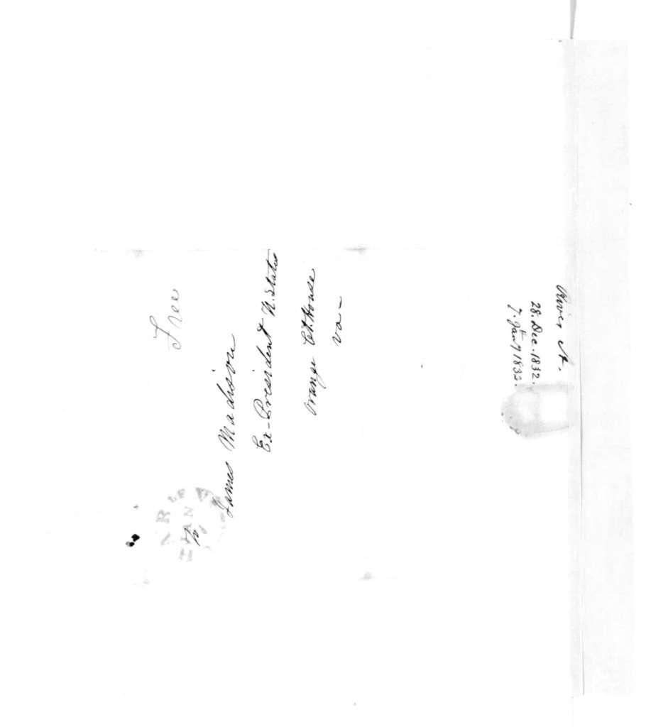 Alexander Rives to James Madison, January 7, 1833.