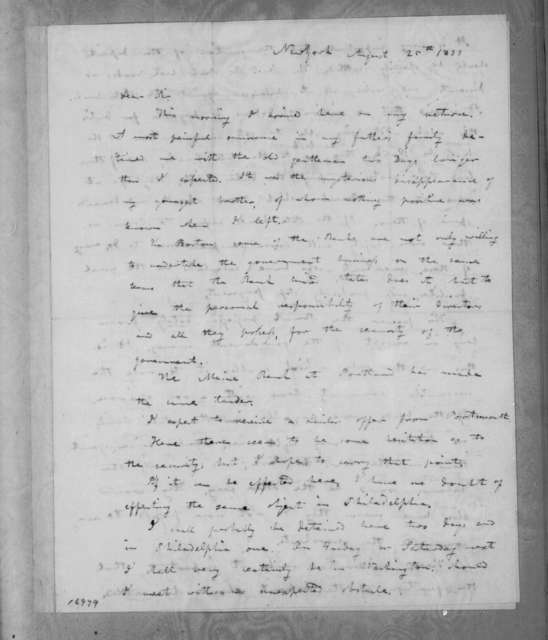 Amos Kendall to Andrew Jackson, August 25, 1833