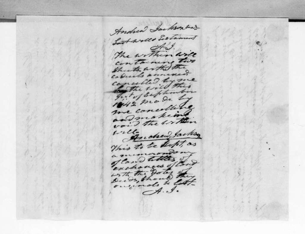 Andrew Jackson, September 30, 1833