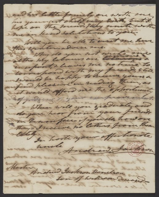 Andrew Jackson to Andrew Jackson Donelson, October 20, 1833
