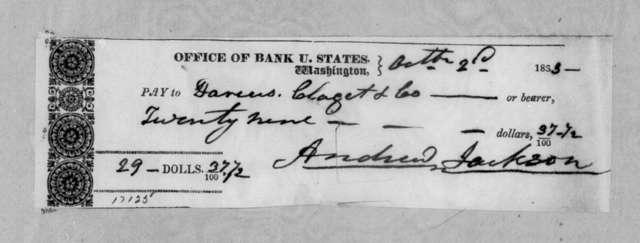 Andrew Jackson to Darius Clagett & Co., October 2, 1833