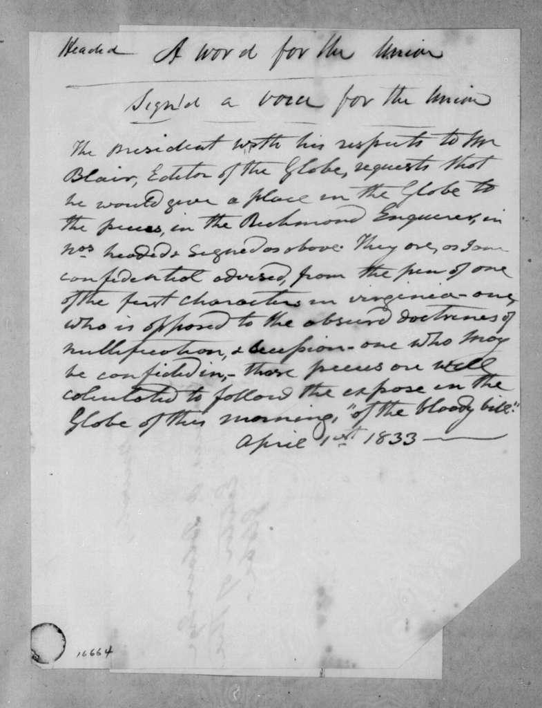 Andrew Jackson to Francis Preston Blair, April 1, 1833