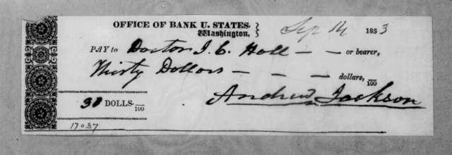 Andrew Jackson to James C. Hall, September 14, 1833