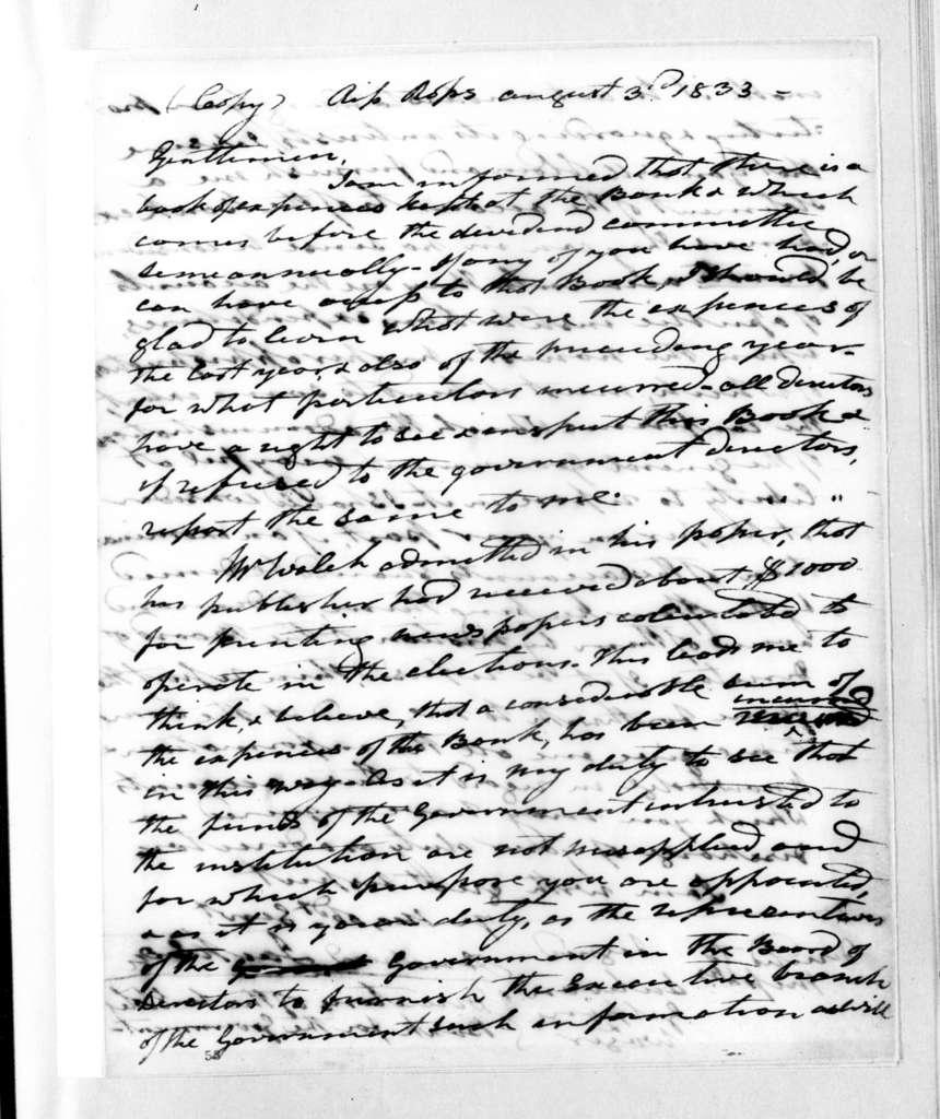 Andrew Jackson to John T. Sullivan et al, August 3, 1833