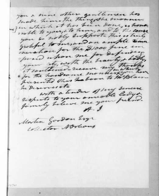Andrew Jackson to Martin Gordon, April 9, 1833