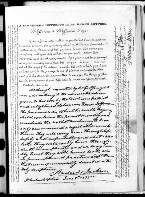 Andrew Jackson to Thomas Jefferson Grotjan, June 9, 1833
