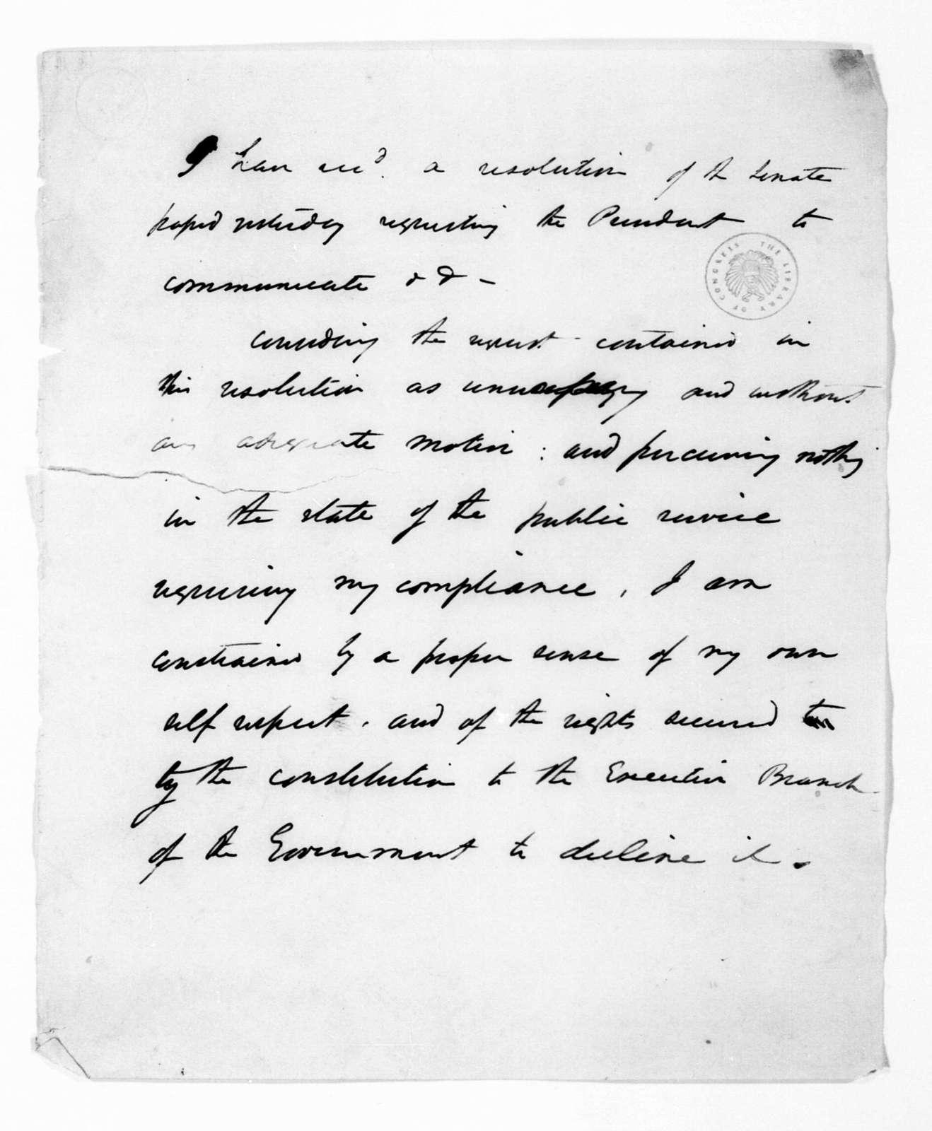 Andrew Jackson to U. S. Senate, December 12, 1833