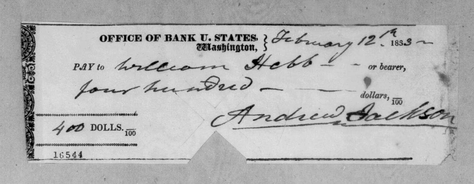 Andrew Jackson to William Hebb, February 12, 1833