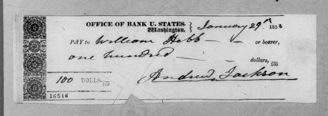 Andrew Jackson to William Hebb, January 29, 1833