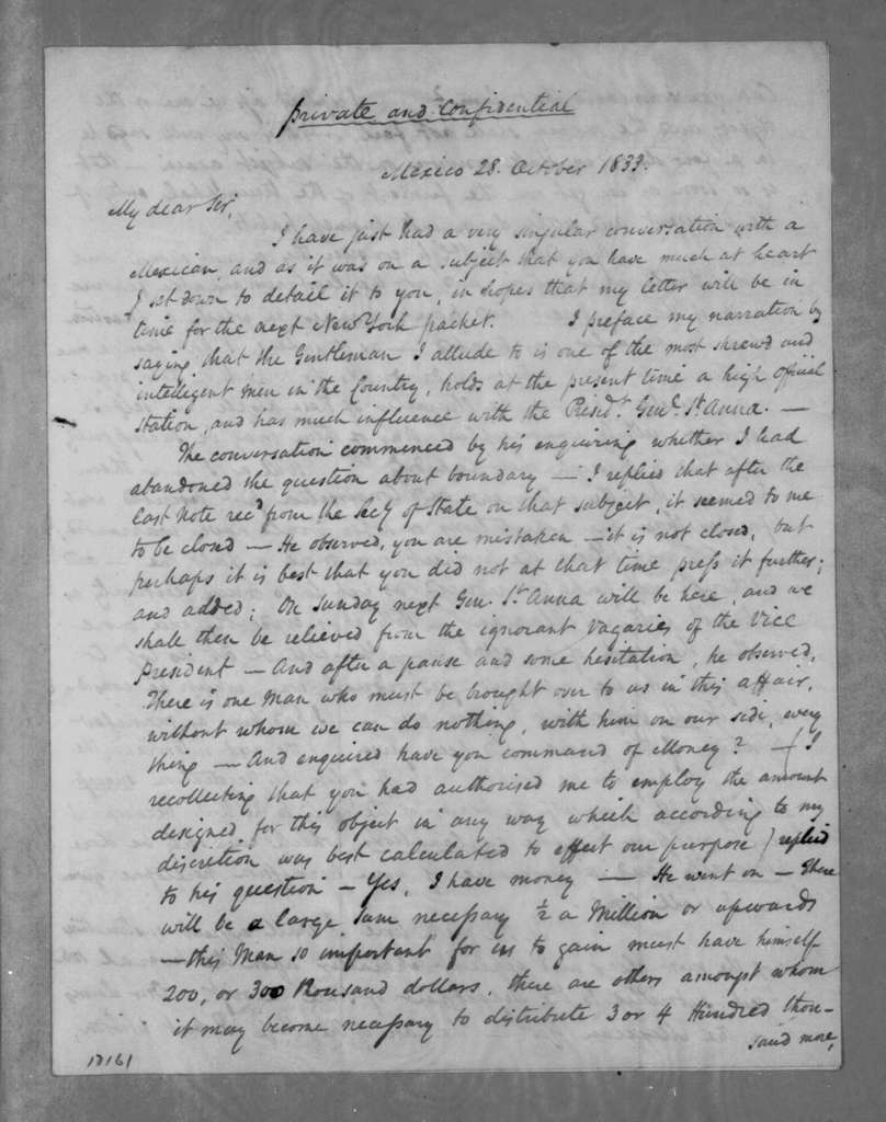 Anthony Butler to Andrew Jackson, October 28, 1833