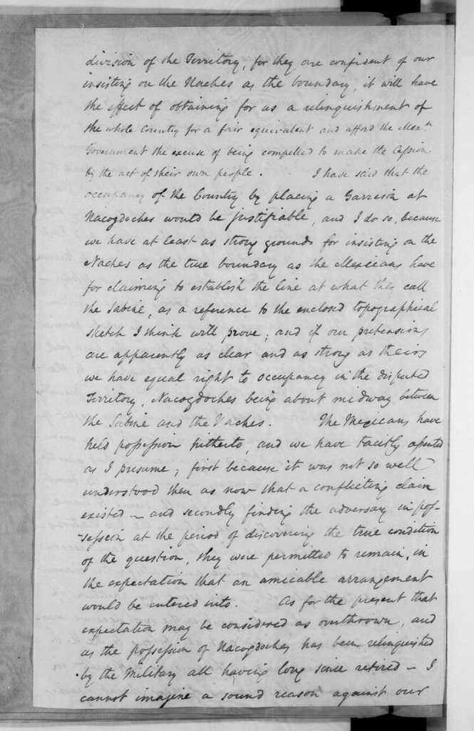 Anthony Butler to Andrew Jackson, September 26, 1833