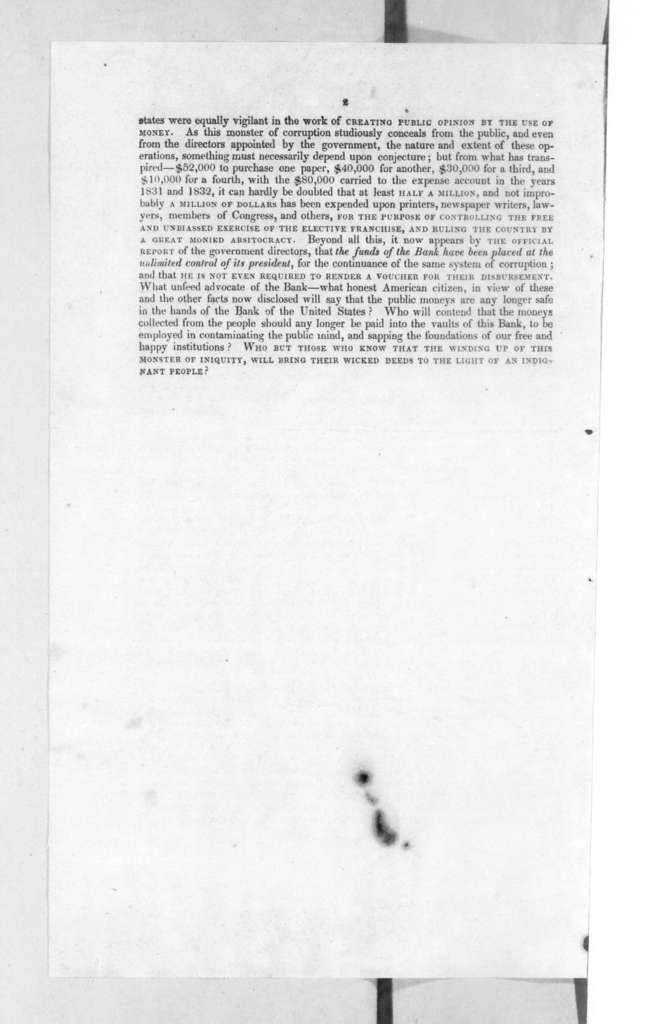 Bank of United States, September 26, 1833