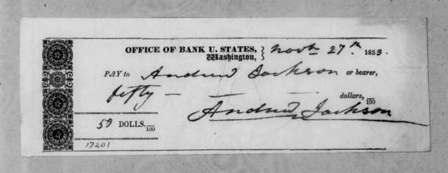 Bank of United States to Andrew Jackson, November 27, 1833