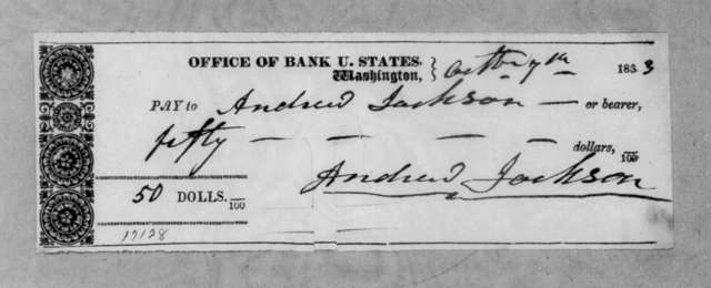 Bank of United States to Andrew Jackson, October 7, 1833