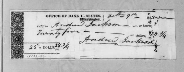 Bank of United States to Andrew Jackson, October 9, 1833