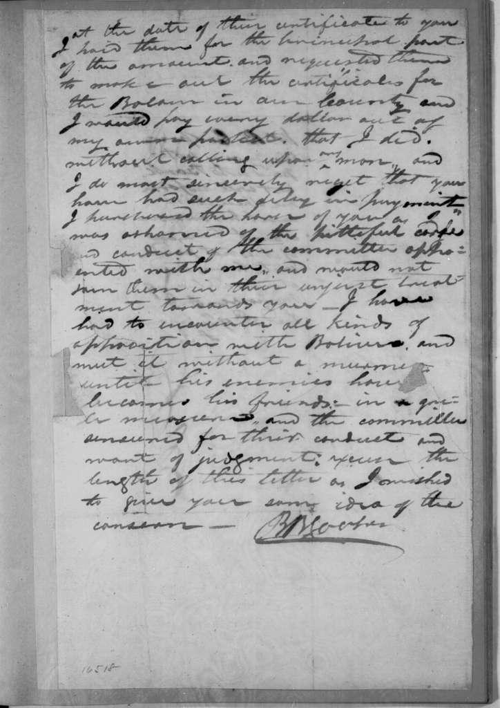Benjamin B. Cooper to Andrew Jackson, January 29, 1833