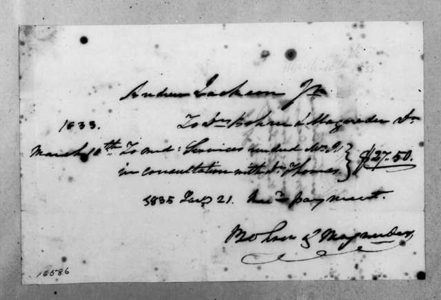 Bohun & Magruder to Andrew Jackson, Jr., March 10, 1833