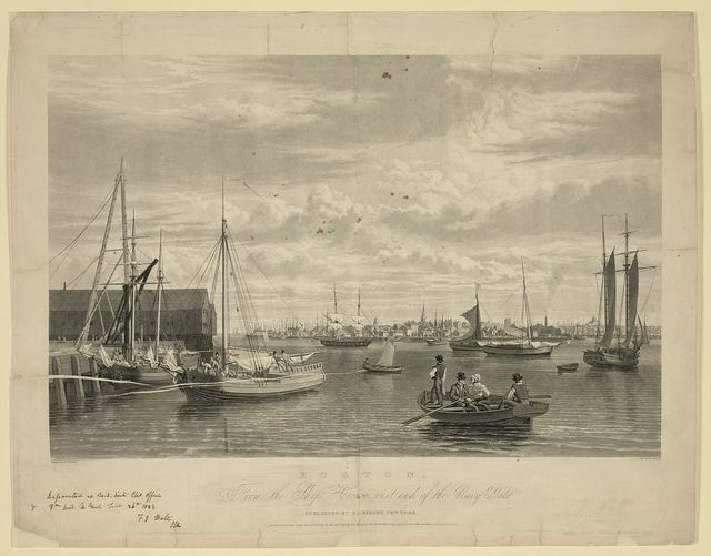 Boston, from the ship house, west end of the navy yard / painted by W.J. Bennett ; engd. by W.J. Bennett.