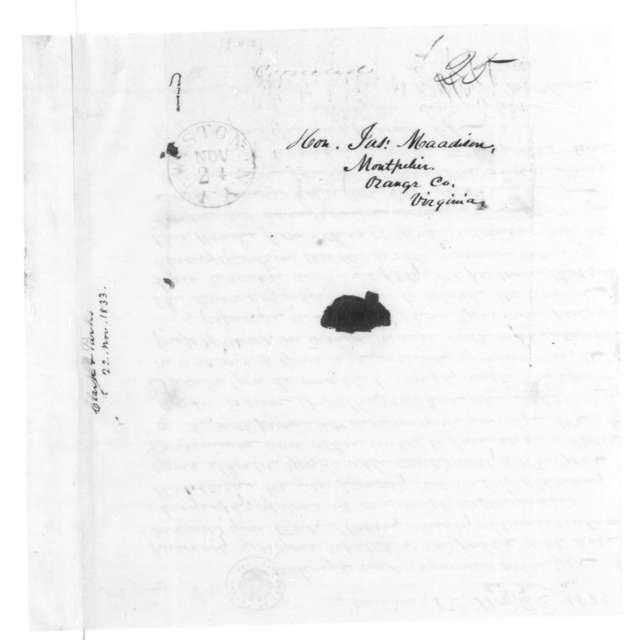 Bushrod W. Clark to James Madison, November 22, 1833.