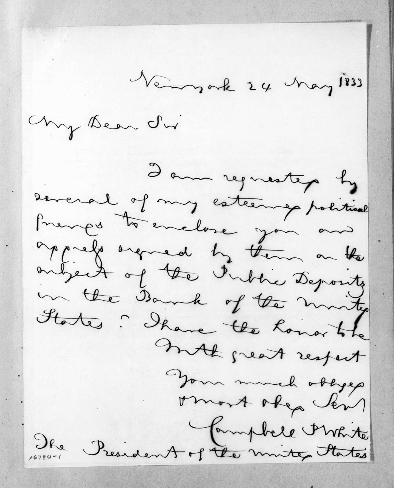 Campbell Patrick White to Andrew Jackson, May 24, 1833