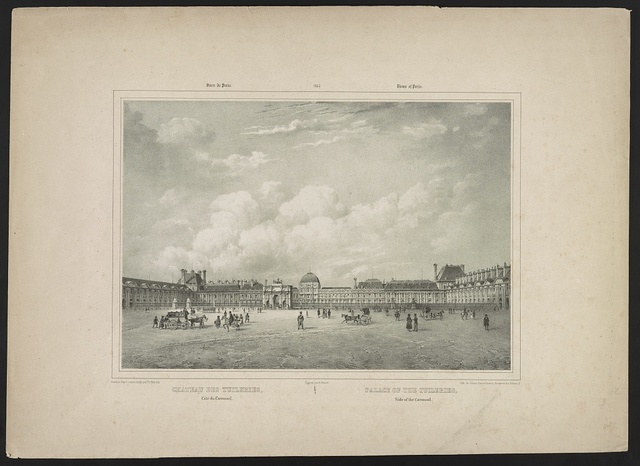Chateau des Tuileries, côté du carrousel Palace of the Tuileries, side of the carrousel / / dessiné d'apre nature et lith: par Ph. Benoist ; figures par A. Bayot ; lith. de Gihaut frères Editeurs, Boulevart des Italiens, 5.