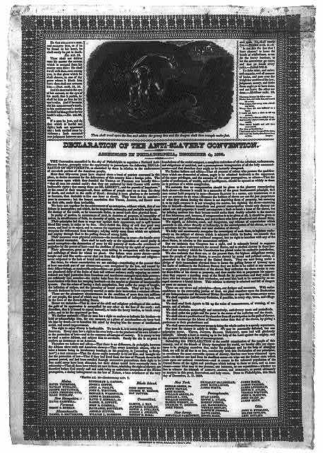Declaration of the Anti-Slavery Convention. Assembled in Philadelphia, December 4, 1833