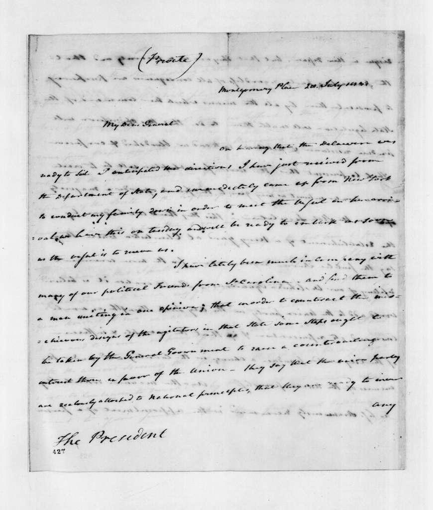 Edward Livingston to Andrew Jackson, July 28, 1833