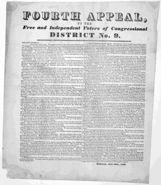 Fourth appeal to the free and independent voters of Congressional district No. 9 ... Holliston, July 20th, 1833.