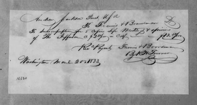 Francis & Boardman to Andrew Jackson, March 20, 1833