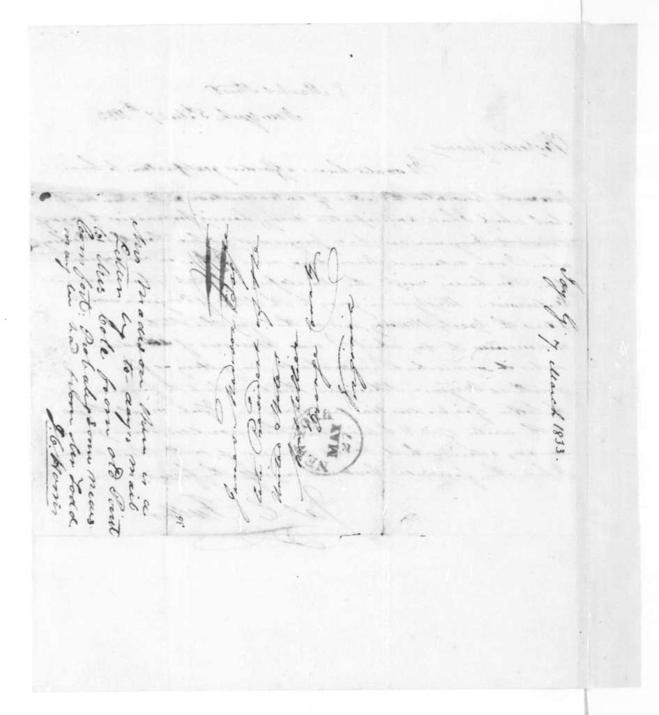 George Joy to James Madison, March 7, 1833. Includes a letter dated May 27, 1833 from James C. Fuller.