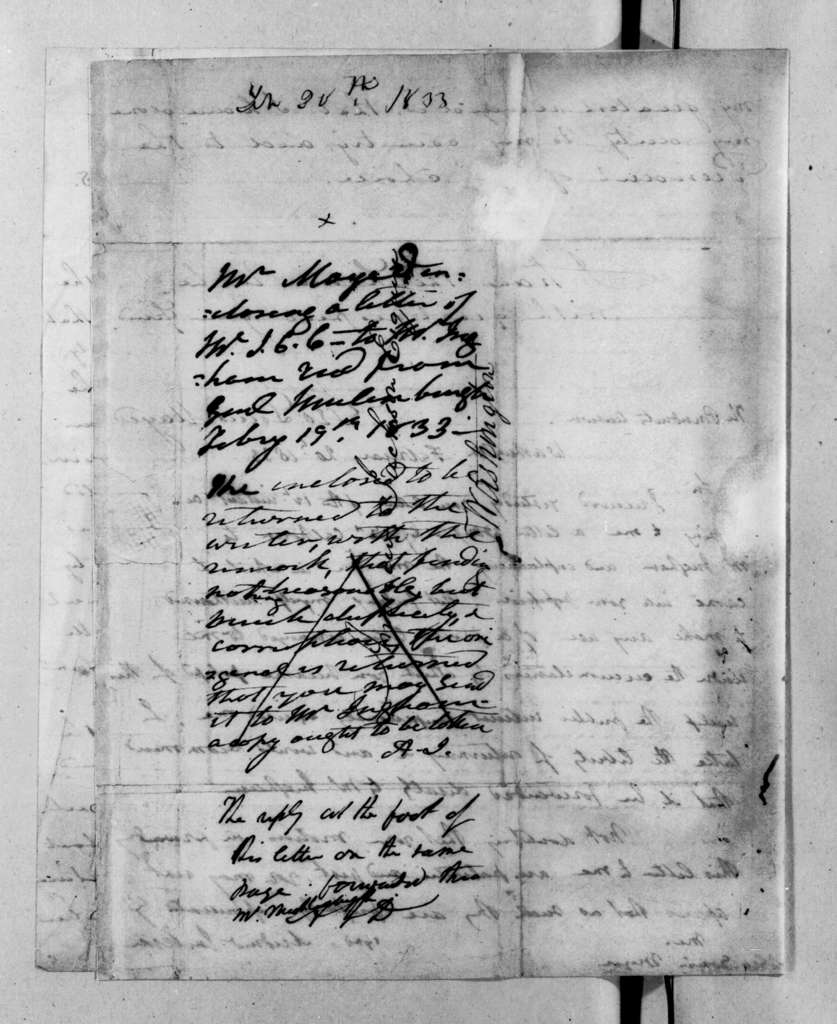 George Louis Mayer to Andrew Jackson, February 12, 1833