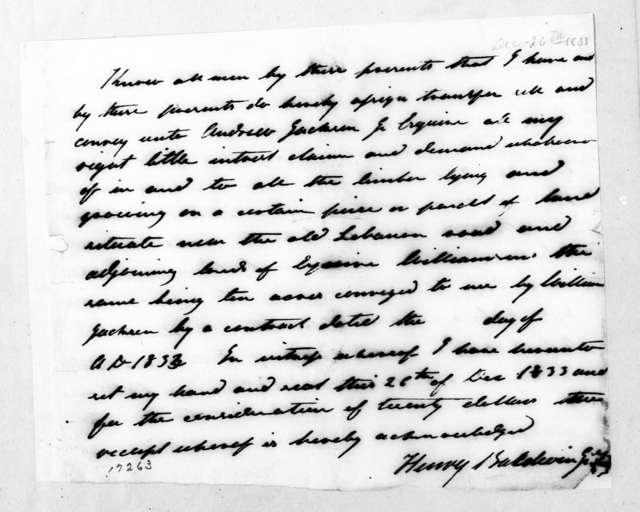 Henry Baldwin, December 26, 1833